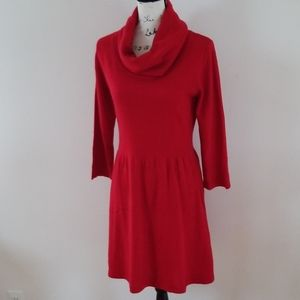 AB Studio Red Knit 2/3 sleeve Sweater Dress